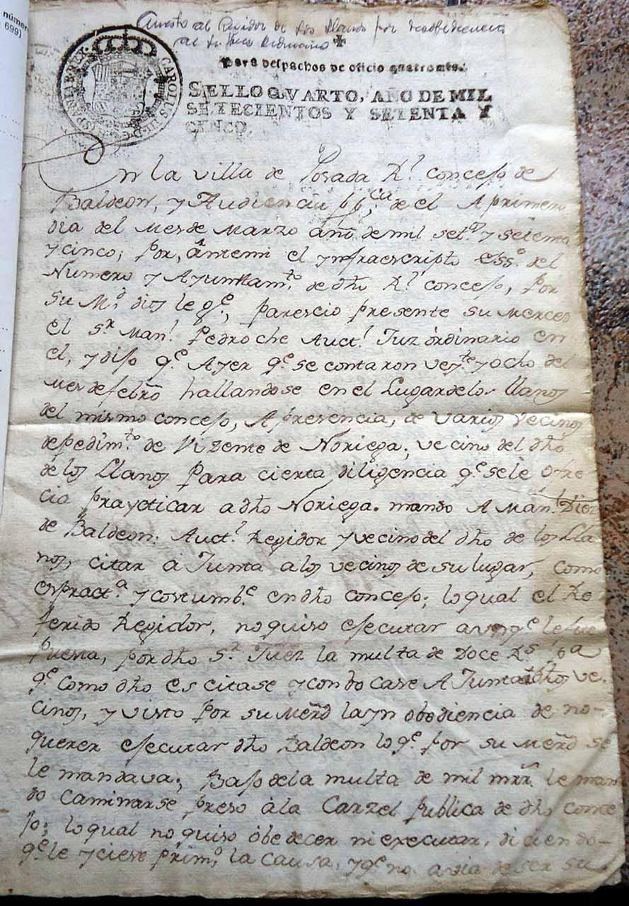 Historia de Valdeón documento año 1775