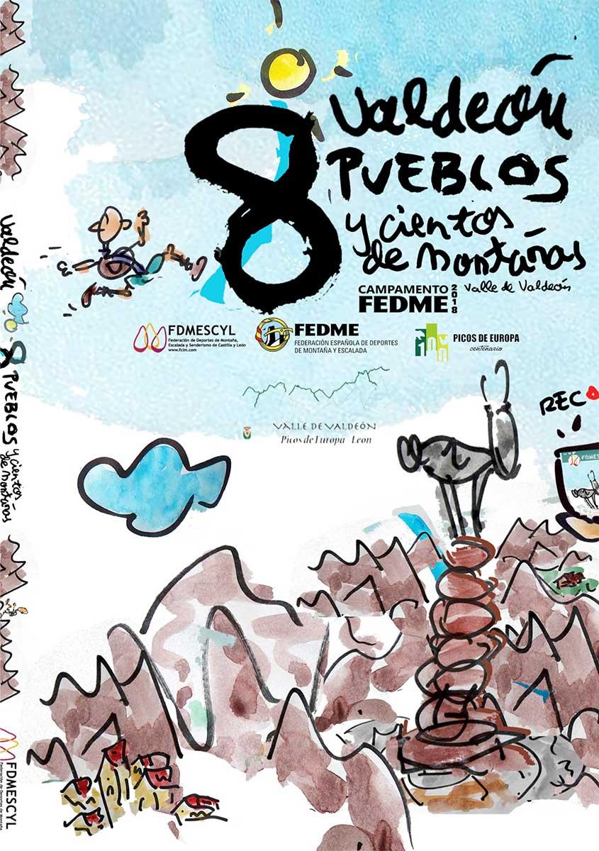 Cartel campamento FEDME Valle de Valdeón