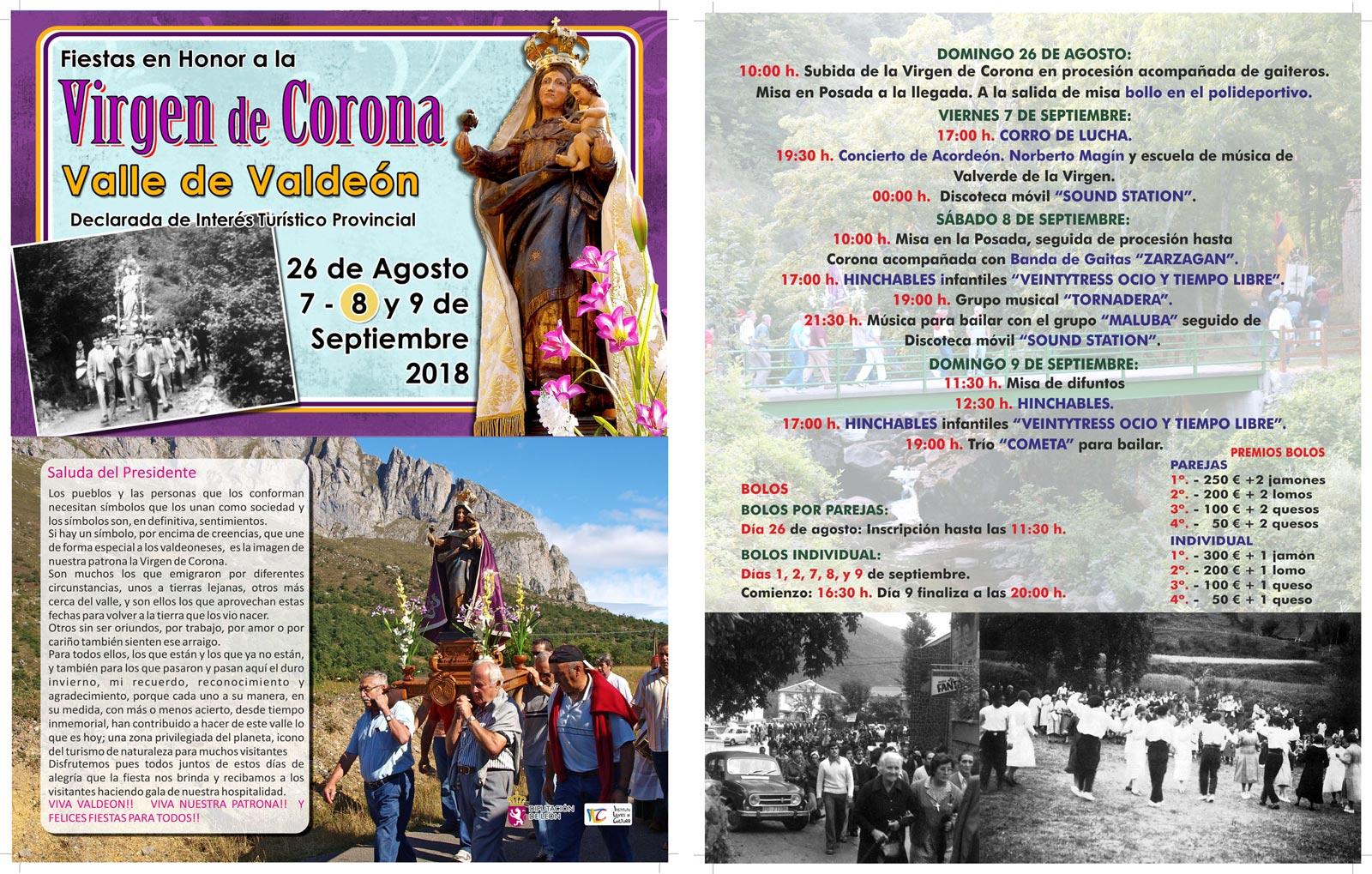 Díptico fiestas Honor Virgen de Corona 2018