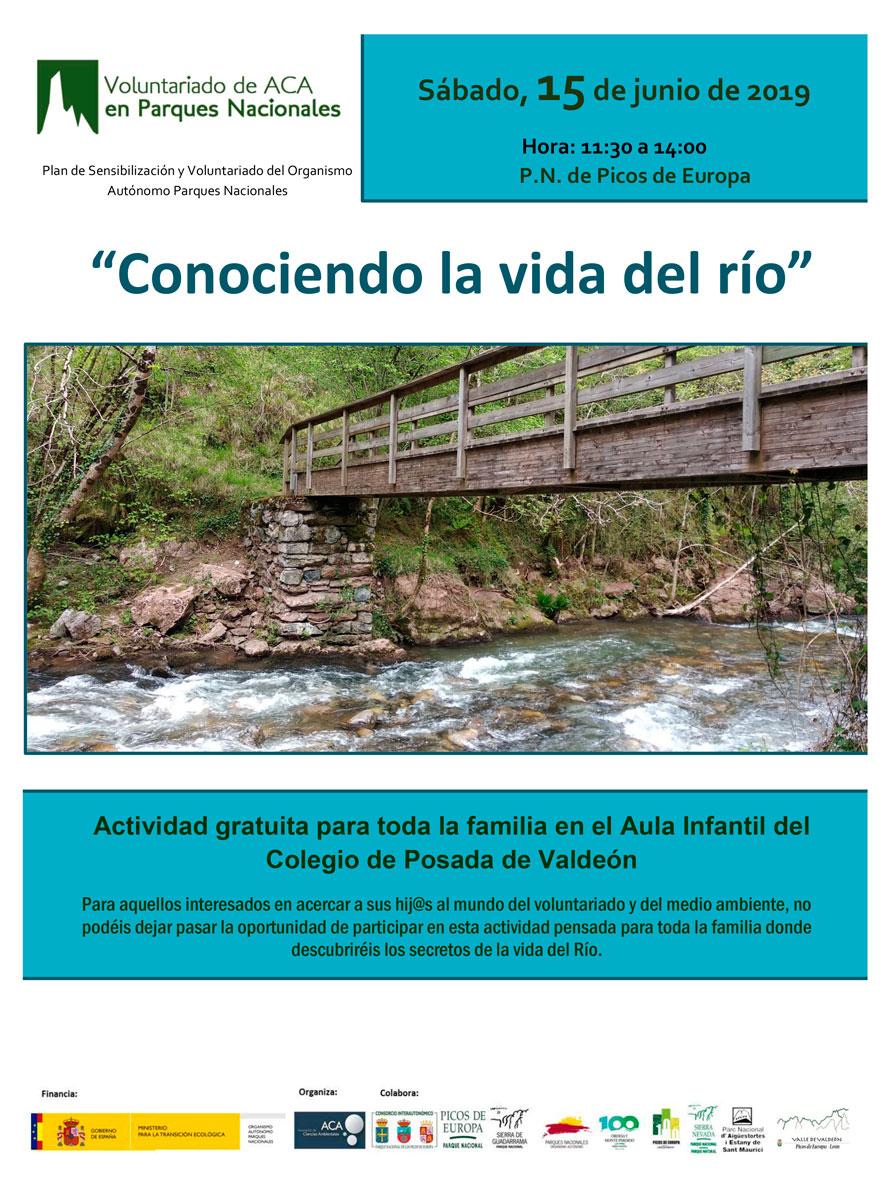 Cartel actividad «Conociendo la vida del río»