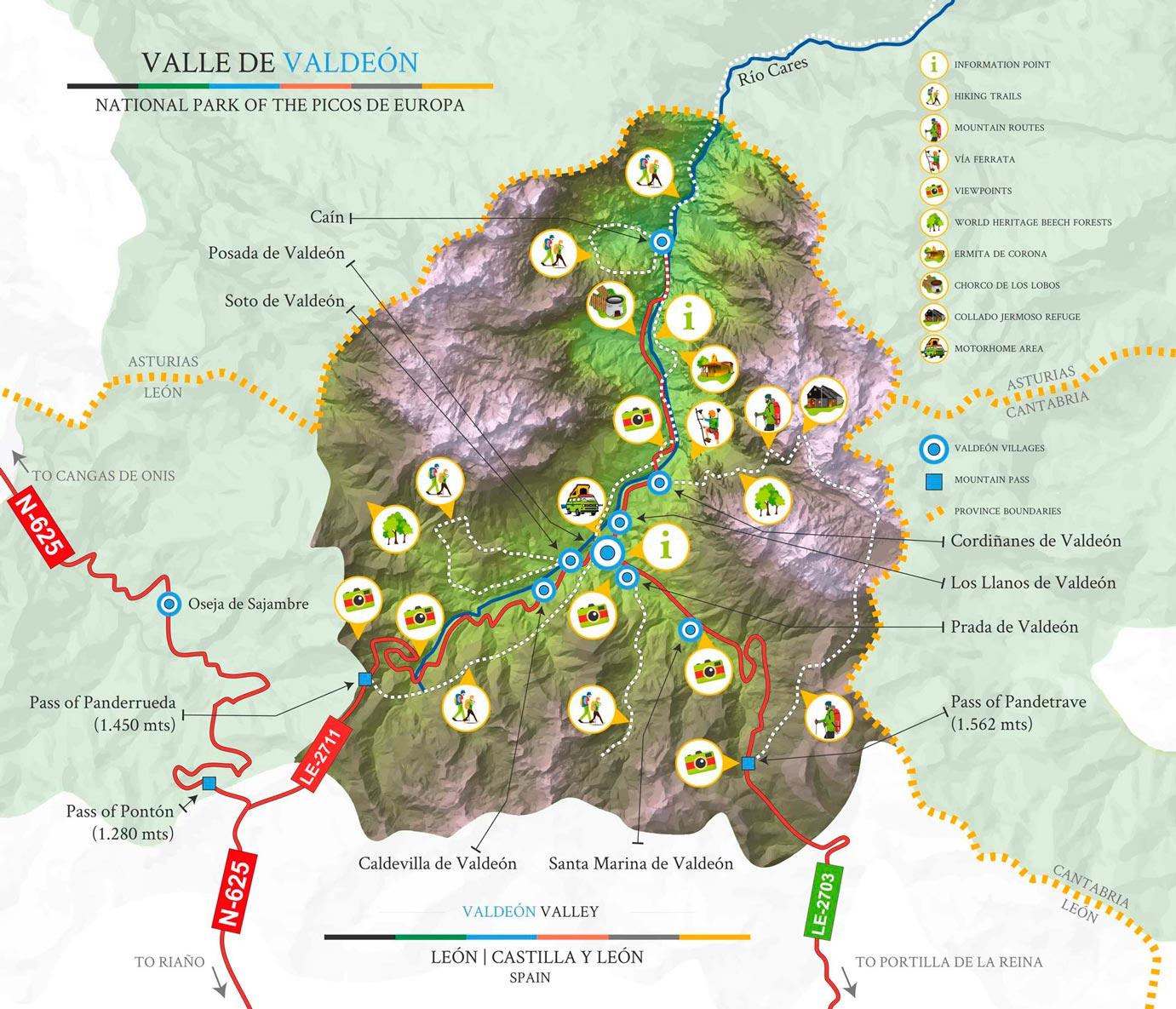 Valdeón Valley municipality map